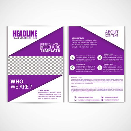 Abstract purple color flyer template, size A4 illustration.