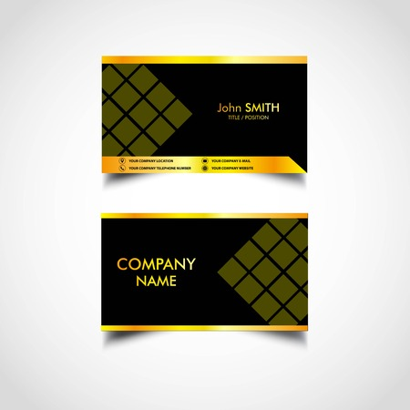 Golden Business Card Template, Vector, US Size, Eps File