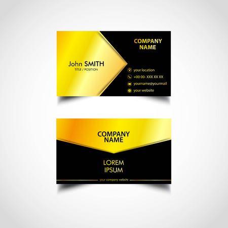 Golden Business Card Template, Vector, US Size, Eps File Ilustração Vetorial