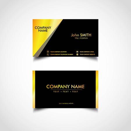 Golden Business Card Template, Vector, Illustration.