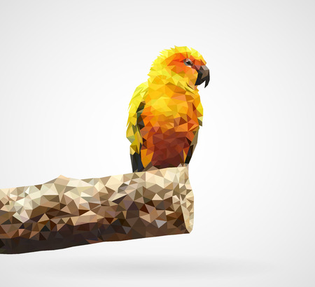 Polygonal yellow parrot vector illustration.