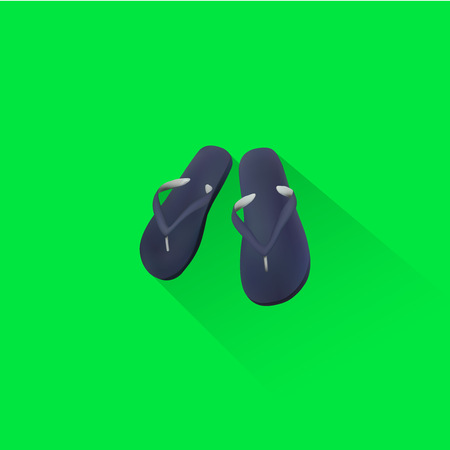 Simple Beach Slippers Icon On Green Background, Vector, Illustration, Eps File