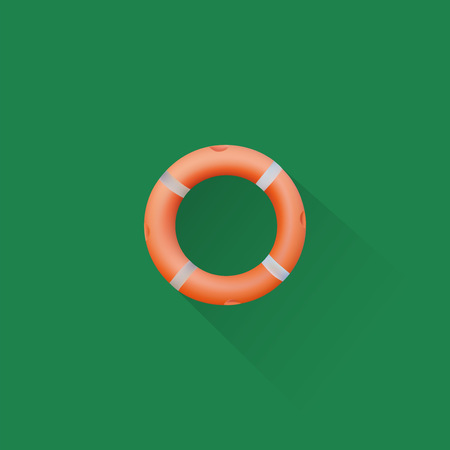 Simple Life Buoy Icon On Green Background, Vector, Illustration, Eps File Illustration