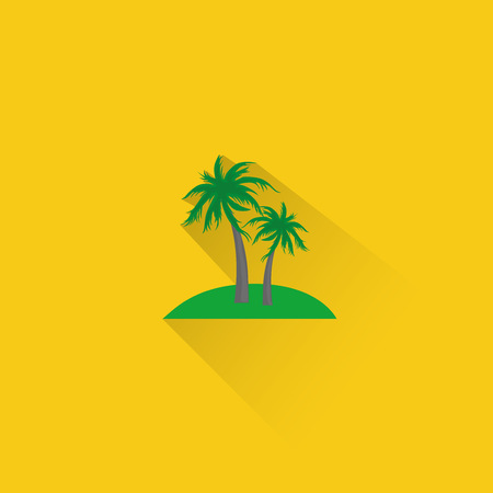 Simple palm trees icon on yellow background. Vector illustration.