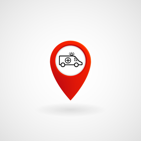 Red Location Icon for Ambulance, Vector, Illustration, Eps File Illustration