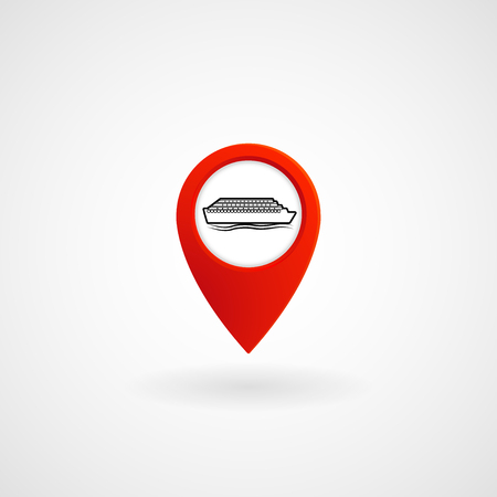 Red Location Icon for Ferry, Vector, Illustration.