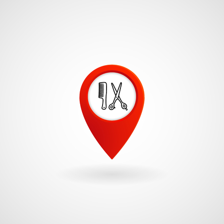 Red Location Icon for Hairdresser, Vector, Illustration File Illustration