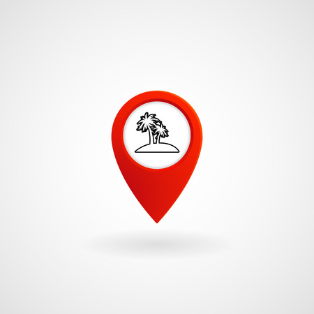 Red Location Icon for Island, Vector, Illustration, Eps File Illustration