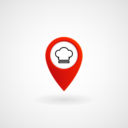 Red Location Icon for Restaurant, Vector, Illustration.