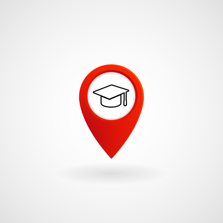 Red Location Icon for University with graduation hat Vector, Illustration Stok Fotoğraf - 95655389