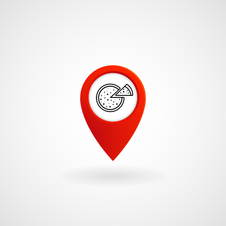 Red Location Icon for Pizzeria, Vector, Illustration