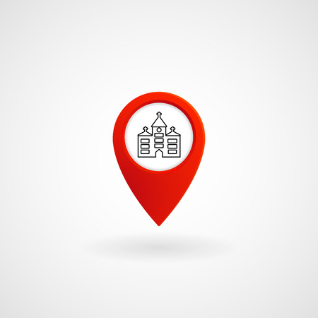 Red Location Icon for Church, Vector, Illustration.