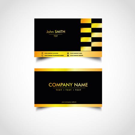 Golden business card templates design, vector illustration. 向量圖像