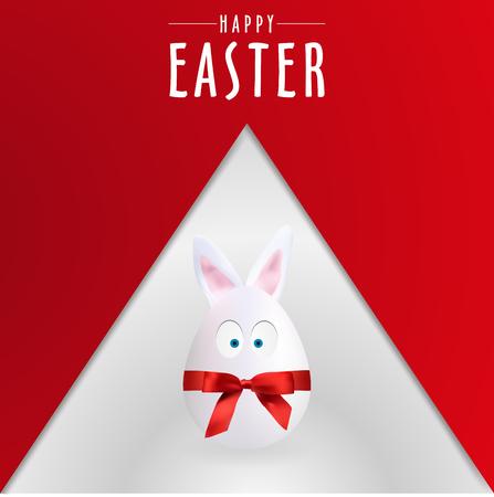 Red Happy Easter Egg Rabbit Poster, Vector, Illustration, Eps File