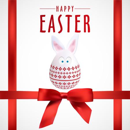 Red Happy Easter Rabbit Egg Poster, Vector, Illustration, Eps File
