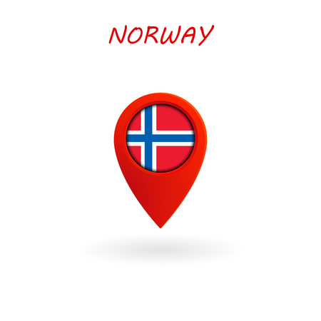 Location Icon for Norway Flag, Vector, Illustration, Eps File.