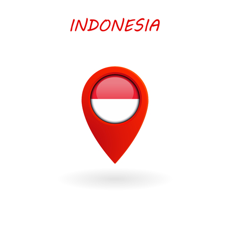 Location Icon for Indonesia Flag, Vector Illustration