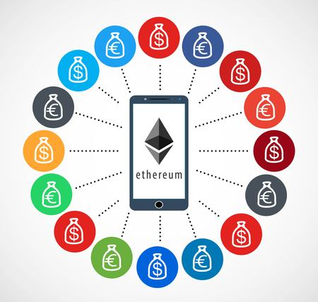 Ethereum Icon with Mobile Telephone, Vector, Illustration