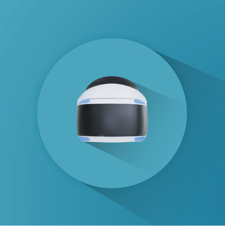 Illustration of virtual reality for entertainment circle icon, Vector