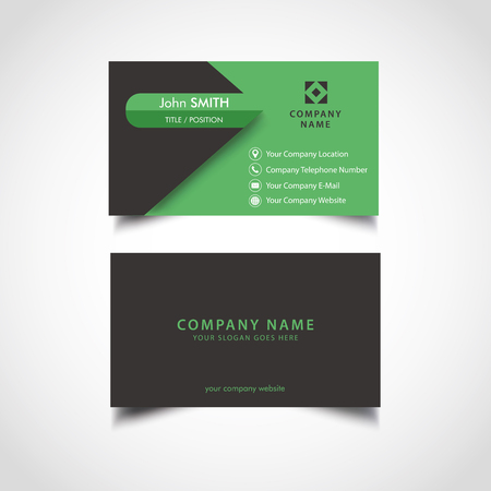 Simple Green and Dark Color Business Card, Vector