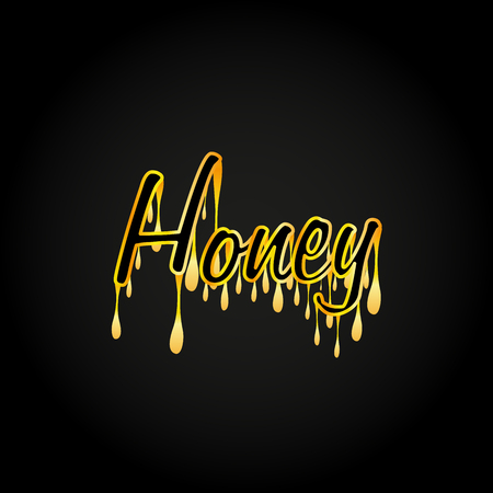 Honey typography dripping on black background, vector, illustration