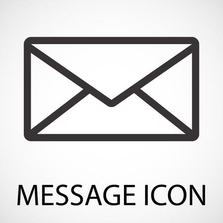 Icono de arte de línea de sobre de mensaje simple, vector, Ilustración