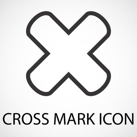 Simple cross mark line art icon, vector, illustration
