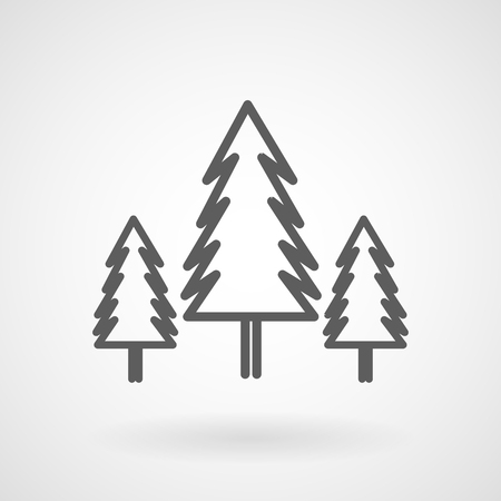 Three conifer trees in a forest line icon, vector, illustration Vector Illustration