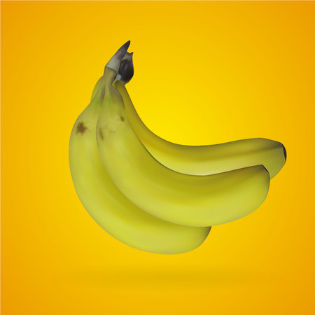 Realistic mesh banana with yellow backgrounds, vector, illustration, eps file Çizim