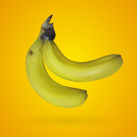 Realistic mesh banana with yellow backgrounds, vector, illustration, eps file Illustration