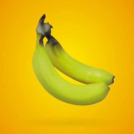 Realistic mesh banana with yellow backgrounds, vector, illustration, eps file Stok Fotoğraf - 109734354
