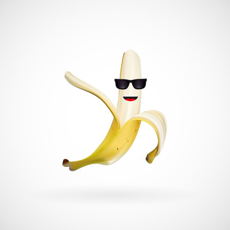Realistic banana character wearing sunglasses, vector, illustration, eps file
