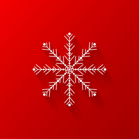 White snowflake flat icon with red background, vector, illustration, eps file