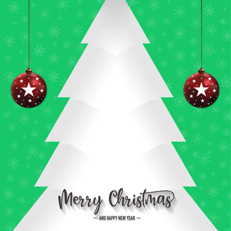 Christmas pine tree and ornaments with green background, vector, illustration, eps file