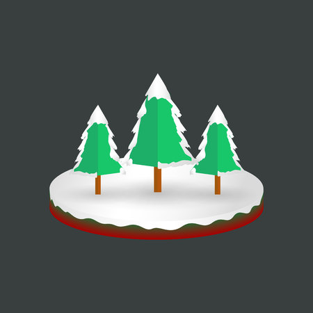Isometric christmas snowy pine trees background, vector, illustration, eps file