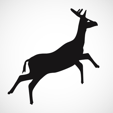 Simple deer silhouette with white background, vector, illustration, eps file Stock Illustratie