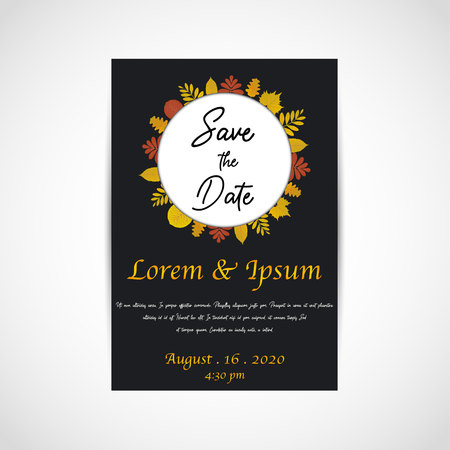 Wedding save the date, invitation card, black background, vector, illustration, eps file
