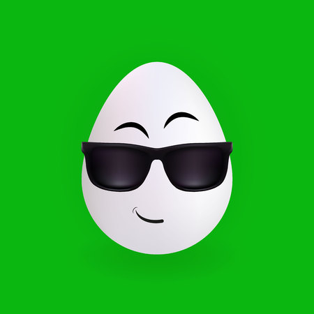 Cool glasses egg character with green background, vector, illustration, eps file