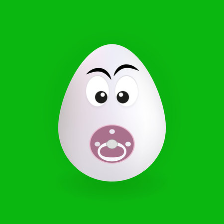 Cute baby egg character with green background, vector, illustration, eps file