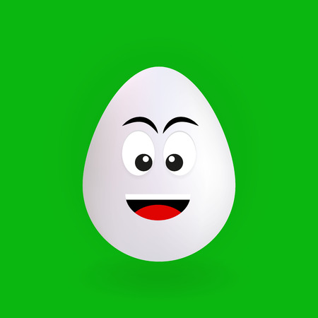 Cute happy egg character with green background, vector, illustration, eps file