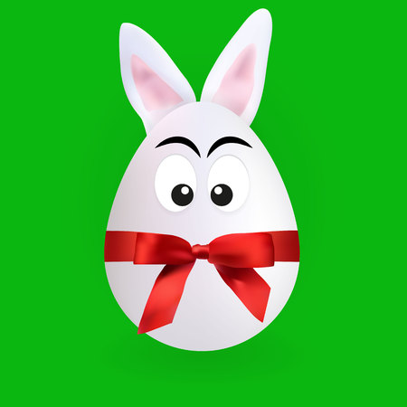 Cute rabbit egg character with green background, vector, illustration, eps file Stock Illustratie