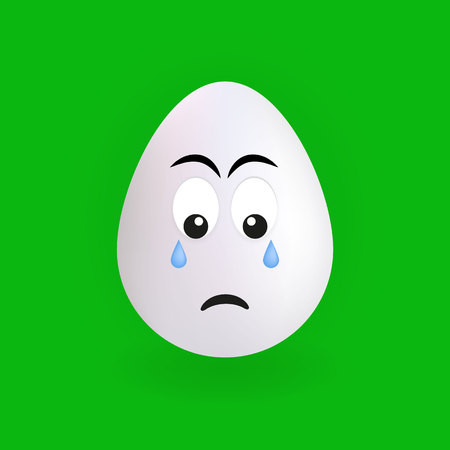 Cute sad egg character with green background, vector, illustration, eps file Stock Illustratie