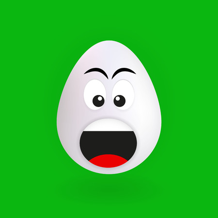 Cute screaming egg character with green background, vector, illustration, eps file