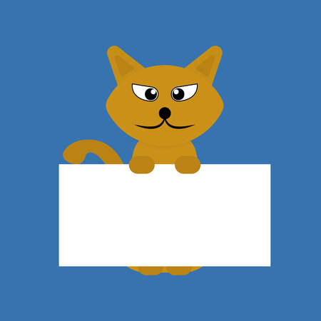 Cartoon orange pet cat showing a placard isolated on blue background, vector, illustration, eps file Stock Illustratie