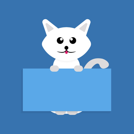 Cartoon white pet cat showing a placard isolated on blue background, vector, illustration, eps file