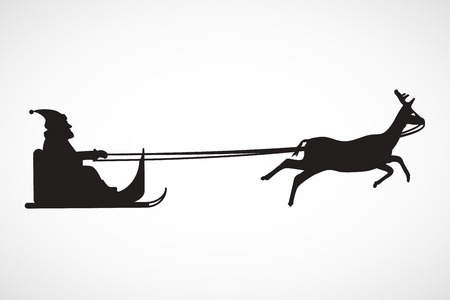 Silhouette of sleigh with Santa Claus and reindeer, vector, illustration, eps file Stock Illustratie