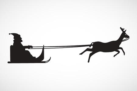 Silhouette of sleigh with Santa Claus and reindeer, vector, illustration, eps file Ilustração