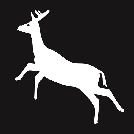 Simple white deer silhouette with black background, vector, illustration, eps file Ilustração