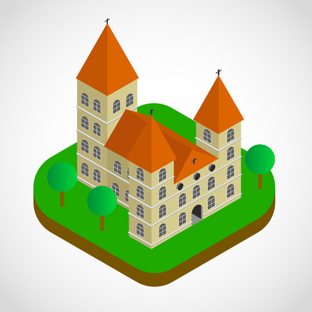 Isometric church building, vector, illustration, eps file