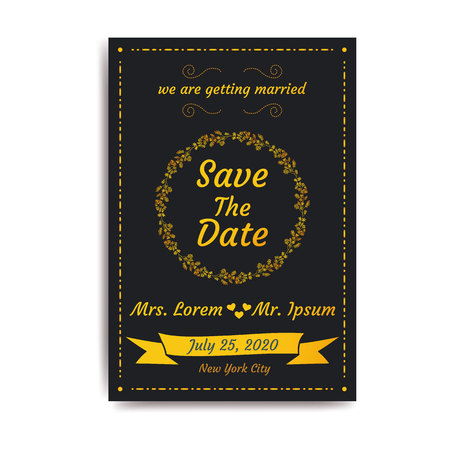Wedding save the date, invitation card with black background, vector, illustration, eps file Stockfoto - 126733997